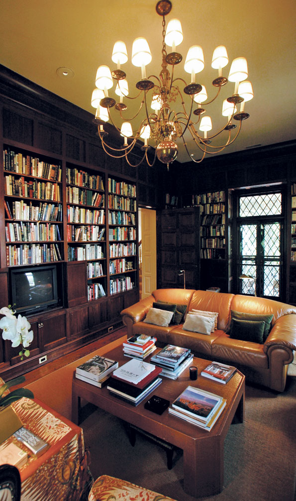 The second-floor study incorporates built-in bookshelves for Haseltine's extensive library.