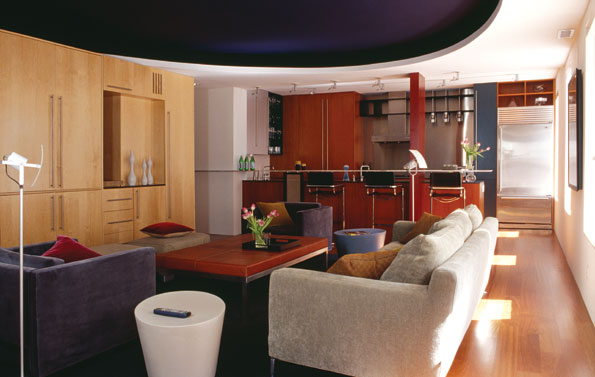 Another shot of the living room with a view of the ceiling's circular cutout and the sofa from B & B Italia.