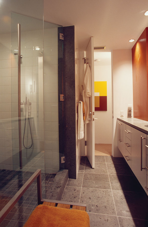 The master bath reflects the modernist feel found throughout the apartment.