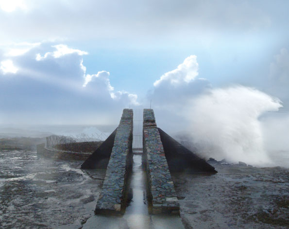"""Price and his Catholic University students designed this """"modern idiom"""" in Doonamoe, Ireland.  Considered one of the """"thin places"""" in Celtic myth, this blowhole explodes to life when the Gale winds whip up 200-foot waves."""