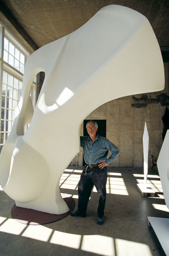 "The artist in his environment: Dreyfuss stands adjacent to the wax model for ""Helix,"" a piece used in Dana Tai Soon Burgess's performance art project ""East West Passages."""