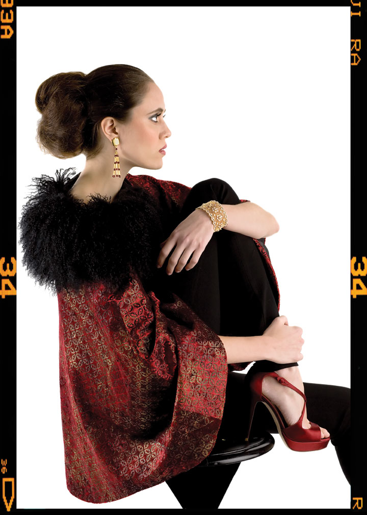 SABINA FAY Baxton Chinese box pattern jacket on red velvet with black Mongolian fur collar ($4,000), ELENA CANTACUZENE gold-plated pewter pieces with red crystal drop earrings ($160), and KEITH LIPERT GALLERY filigree bracelet ($1,565); Keith Lipert Gallery, 2922 M St. NW, 202-965-9736. IISLI black leggings ($198); Bloomingdale's, 5300 Western Ave., Chevy Chase, Md., 240-744-3700. YVES SAINT LAURENT red platform sandals ($695); Saks Jandel, 5514 Wisconsin Ave., Chevy Chase, Md., 301-652-2250.