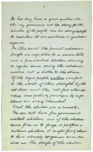 The speech Abraham Lincoln gave on the occasion of his reelection to office in November, 1864, will be auctioned at Christie's New York on Feb. 12. (Courtesy of Christie's Ltd.).