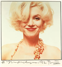 """Bert Stern (b. 1929). Marilyn Monroe, """"The Last Sitting,"""" 1962. Hand colored print, signed, dated and numbered. Sold for $146,000 at Christie's December 2008 sale of the Constantiner Collection."""