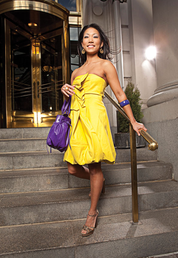 Makeup Georgio Takounakis / Hair Lisa Banfield. ON BECKY: Shoshanna yellow dress ($385) and  Botkier James Satchel in deep purple ($595); Urban Chic, 1626 Wisconsin Ave. NW, 202-338-5398, www.urbanchiconline.com. Moschino Cheap and Chic tie-dyed high heel ($550), Sassanova vermeil pearl ring ($245), dome enamel bangle ($95), and 14 kt Filigree hoop earrings with purple stone ($280); Sassanova, 1641 Wisconsin Ave. NW, 202-471-4400, www.sassanova.com.