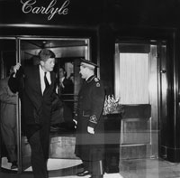 John F. Kennedy leaves his headquarters at the Carlyle Hotel en route to St. Patrick's Cathedral to attend Low Mass. (Photo: Bettmann/CORBIS)