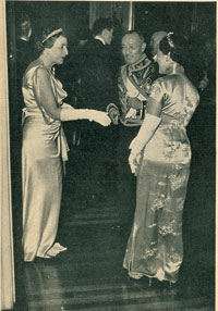 Mrs. Truxtun Beale greets the Chinese ambassador and his wife at her December, 1938, diplomatic reception at Decatur House.