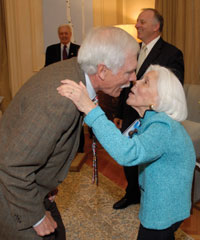 Ted Turner and Heloisa Sabin at the reception for the U.N. Foundation's Polio Advocacy Group.