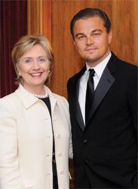 Hillary Rodham Clinton and Leonardo DiCaprio