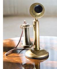 An early prototype of the telephone, possibly used by Alexander Graham Bell himself- Bell was son-in-law to Gardiner Greene Hubbard, the original owner of Twin Oaks
