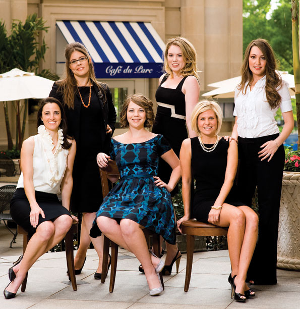 STANDING, FROM LEFT: Joy Langley, Generation O - The Washington National Opera; Catherine Eisenmann, Contemporaries - The Phillips Collection; Sara Lange, Jeté Society – The Washington Ballet. SEATED, FROM LEFT: Kate Stilwill, Young Benefactors - The Smithsonian Associates; Megan Harmon, 1869 Society - Corcoran Gallery of Art; Corrie Gilchrist, Young Founders Society - The Foundation for the National Archives. Photographed in the Willard Intercontinental Courtyard.