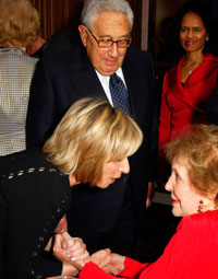 Andrea Mitchell, Henry Kissinger, Mary Bush, and Nancy Reagan