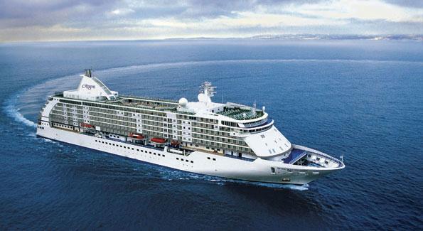 Regent Lines' Seven Seas Voyager. Length: 670 feet; Beam (width): 94 feet; Gross Tonnage: 46,000: Guest Decks: 9; Cruising Speed: 20 knots: Passengers: 700; Crew 447.