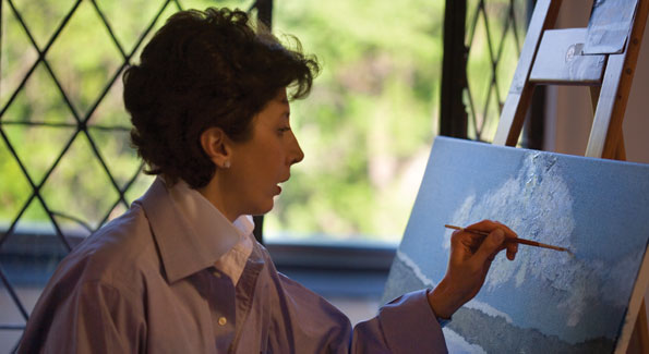 Lila began painting at age eight and rediscovered her passion when she and her husband were living in Australia in the early '90s – many of Villa Firenze's private rooms are decorated with her artwork.