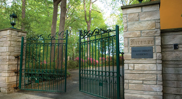 The gates of Villa Firenze open to Albemarle St. N.W.