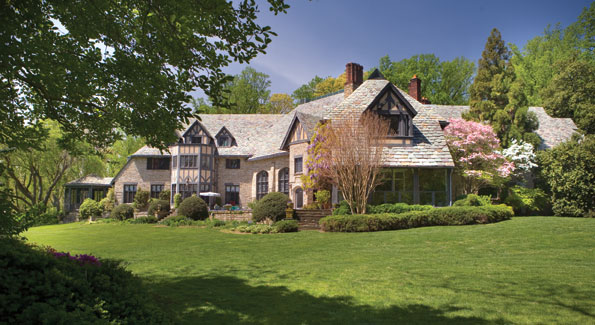 Villa Firenze lies on 15 acres of lawns and woodlands in the heart of Cleveland Park. The home's half-timber exterior and numerous chimneys are exemplary of the Tudor revival that became popular in the U.S. in the late 19th century.
