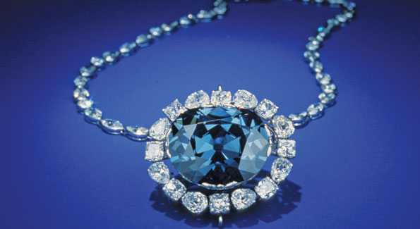 The Hope Diamond today, as seen at the Smithsonian.