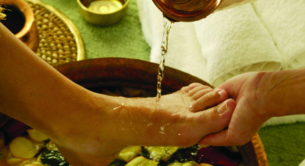 Ayurvedic foot treatments are one of the many massages available on property.
