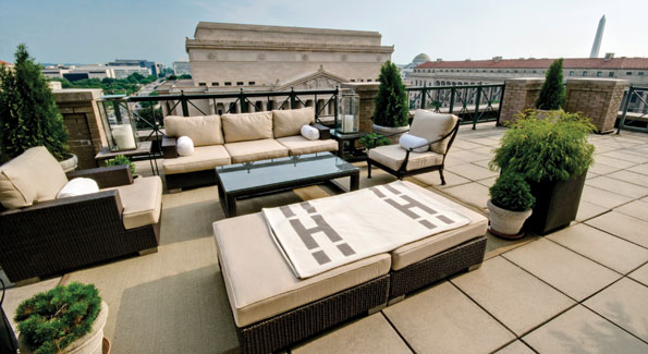 The terrace, nearly the size of the apartment, is a prime viewing spot for presidential inaugural and Independence Day parades, or just a place to relax, unwind, sip a cocktail, or watch the dawning of a new day