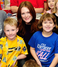 "Julianne Moore (above) recently published her second ""Freckleface Strawberry"" children's book. She was in Washington  promoting it and her work with Save the Children."
