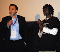 Producer Karim Chrobog and star Emmanuel Jal at the premiere of  their award-winning documentary, War Child