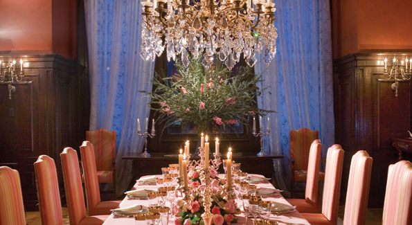 Formal dinner for 18 at the Residence with catering and table setting from Catering by Windows and Colombian roses arranged by JLB Floral.