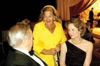 """Esther Coopersmith (Center) pictured here with Arthur Gardner, and Susan Eisenhower, has been one of the Clinton campaign's top """"Hillraisers."""""""