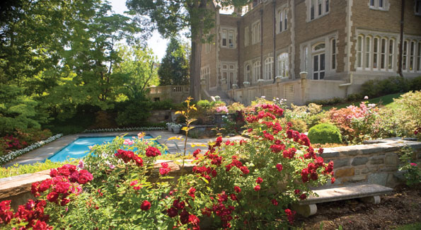 The residence, here in mid-summer splendor, sits on five lush acres of gardens that border Rock Creek Park with trees, flowers, birds and a swimming pool.  On July 14th every year, the French community is invited to celebrate Bastille Day.
