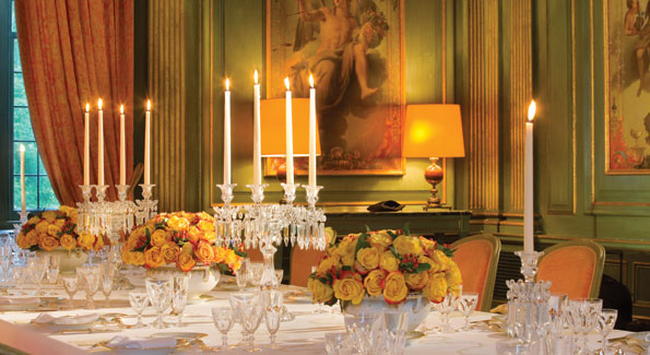 The beautiful pale green boiserie dining room is the site of sumptuous meals and has hosted some of Washington's most notable social and intellectual gatherings. Amb. Vimont will now be responsible for the well-stocked wine cellar - a task his predecessors have taken very seriously, much to the delight of dinner guests.