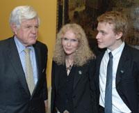 Sen. Ted Kennedy, Mia Farrow, and Ronan Farrow