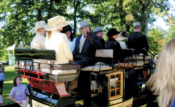 Riders atop antique coaches at the National Sporting Library's Coaching Weekend.