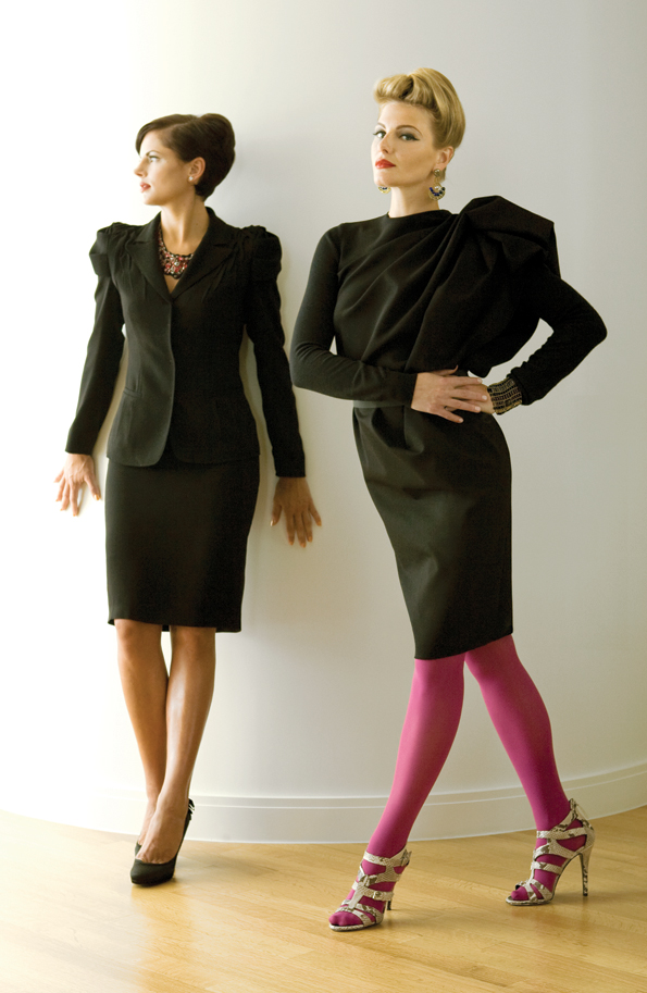 On Rhiannon (LEFT): Prada black blazer ($1,520), black suede necklace ($4,560), and black pencil skirt ($595); Saks Fifth Avenue, 5300 Wisconsin Ave. NW, 202-363-2059, www.saks.com.  Karen Millen black stilettos with ruffle heels ($199); Karen Millen, 1801 G International Dr., McLean, Va., 703-790-3120, www.karenmillen.com. Earrings, model's own. On Olga (RIGHT): LANVIN black sculptural dress ($3,565) and Giuseppe Zannoti natural snakeskin gladiator sandals ($695); Saks Fifth Avenue, 2001 International Dr., McLean, Va., 703-827-1961, www.saks.com. Hue plum tights ($12.50); Cusp, 3030 M St. NW, 202-625-0893, www.cusp.com. ZIIO cuff ($675) and earrings ($375); Mia Gemma, 933 F St. NW, 202-393-4367, www.miagemma.com.