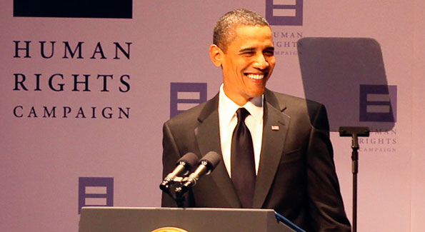 President Barack Obama addresses the HRC guests and a live national audience. (Photo by Tony Powell)
