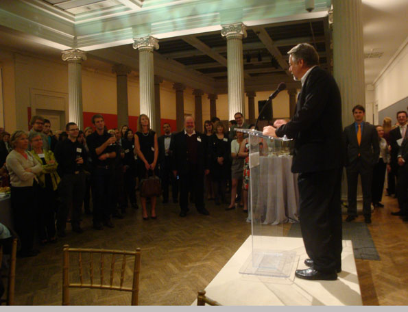 Edward Burtynsky speaking to visitors at the opening night reception of 'Edward Burtynsky: Oil'