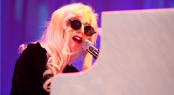 Lady Gaga tickles the ivories at the HRC gala last year. (Photo by Tony Powell)