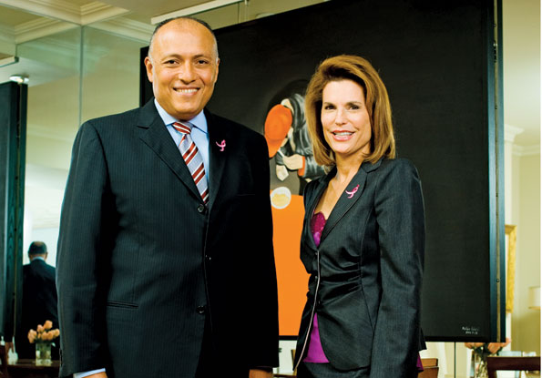 Egyptian Ambassador Sameh Shoukry and Ambassador Nancy Brinker stand before a work from her extensive collection of Hungarian Art. (Photo by Joseph Allen)