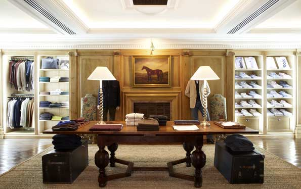The Pine Room at the Alfred Dunhill flagship store  displays menswear with old world elegance and style.