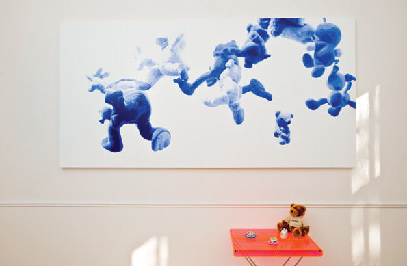 """Hiroshi Kobayashi's large scale painting, """"Baby Balloon,"""" figurative and abstract, shows the artist's command of perspective and is an example of his unique technique reminiscent of """"paint by numbers."""""""