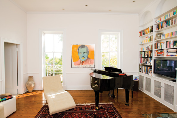 """Andy Warhol's """"Vote McGovern"""" commands this view of the Library, where the Bork's contemporary aesthetics complement the architecture by contrast."""