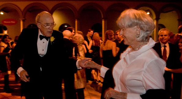 Former Sen. Alan Simpson and his wife, Anne, on the dance floor. Photo by Daniel Rosenbaum.