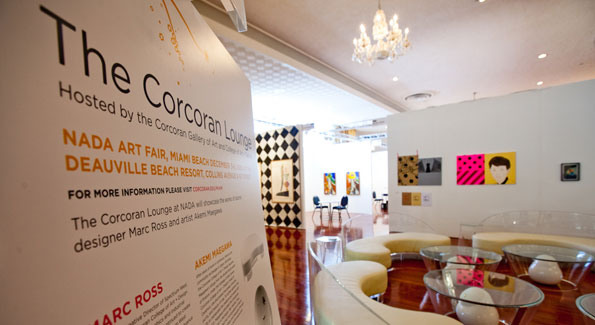 Official Corcoran Lounge during the NADA Art Fair of Art Basel Miami. Photo courtesy of Dakota Fine.