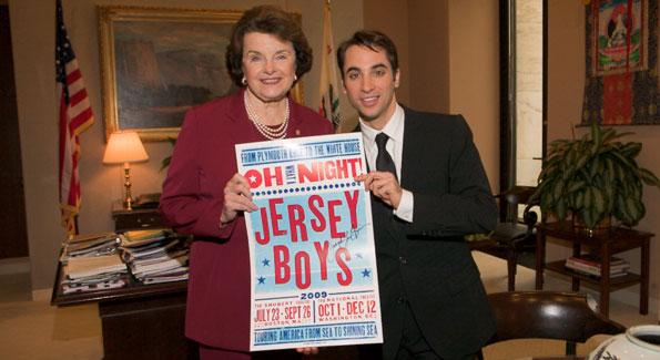 """""""Jersey Boys"""" Joseph Bwarie pays a visit to fellow Californian Senator Diane Feinsten"""