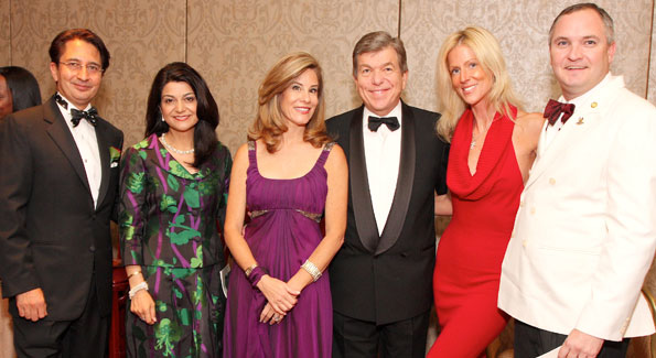 Afghanistan Ambassador Said and Shamim Jawad, Abigail and Congressman Roy Blunt, and Michaela and Tareq Salahi at the 2008 Ambassador's Ball. (Photo by Tony Powell, Courtesy of Washington Life Magazine.)