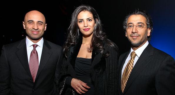 "UAE Amb. Yousef Al Otaiba, Dounia Sadqui, and Yemen Amb. Abdulwahab Abdulla Al-Hajjri. ""Journey to Mecca"" IMAX Gala Screening. Museum of Natural History. (photo by Tony Powell)"