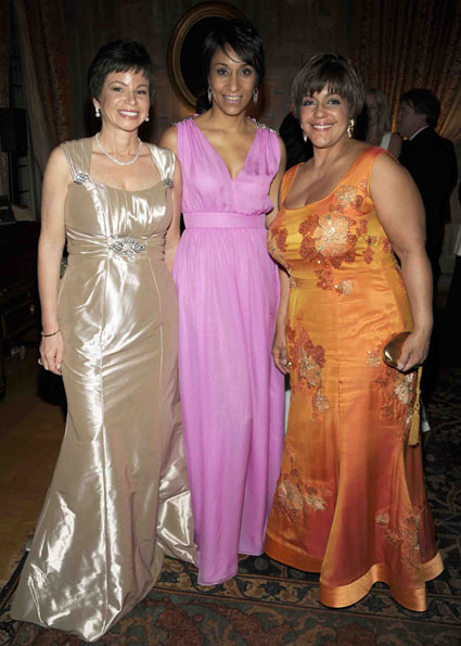 Valerie Jarrett and Desiree Rogers with LJ Rice at The White House Correspondents Association Dinner