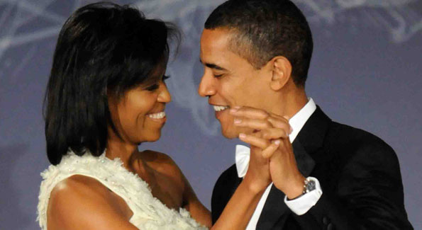 First Lady Michelle Obama and President Barack Obama at an inauguration event.