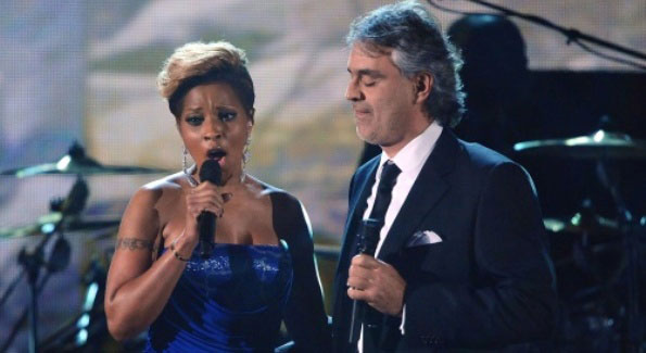 """""""Bridge Over Troubled Water"""" sung by Mary J Blige & Andrea Bocelli"""