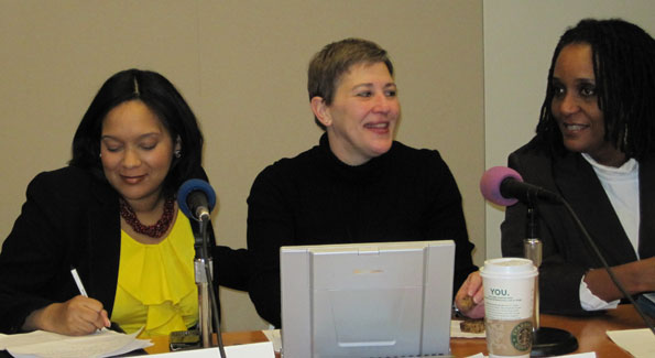 Nichole Lee, Donna Barry and Leonie Hermatin share their non-profit organizations' plans to assist Haitians in need. (Photo by Janice Kaplan)