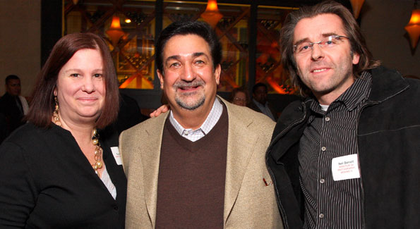 "Director Susan Koch, Producer Ted Leonsis, and Cinematographer Neil Barrett at a screening for their documentary film ""Kicking It."" (Photo by Tony Powell)"