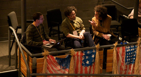Participants in the Wooly Mammoth box seats. Big Ideas, Big Action conference. Photo By Jen Consalvo.